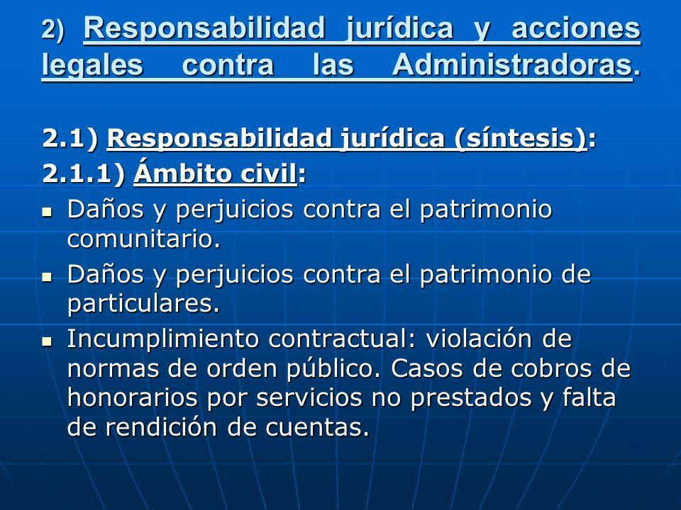 2) Responsabilidad jurídica y acciones legales contra las Administradoras. 2.1) Responsabilidad jurídica (síntesis): 2.1.1) Ámbito civil: Daños y perj