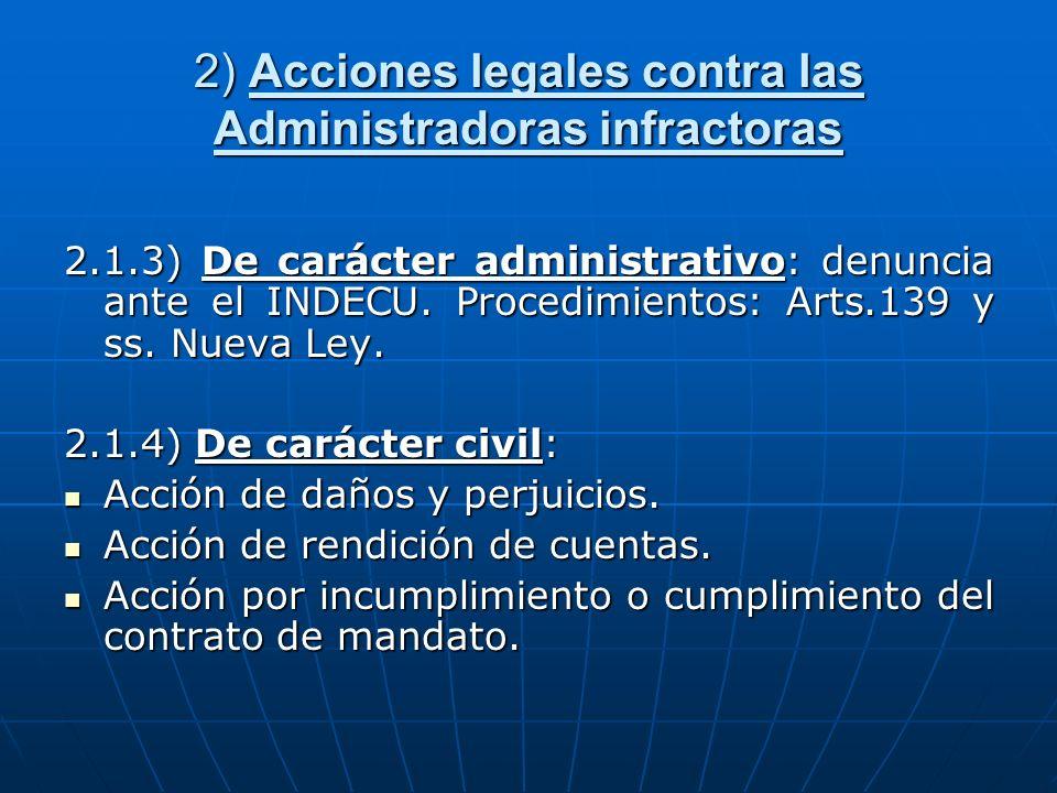 2) Acciones legales contra las Administradoras infractoras 2.1.3) De carácter administrativo: denuncia ante el INDECU. Procedimientos: Arts.139 y ss.