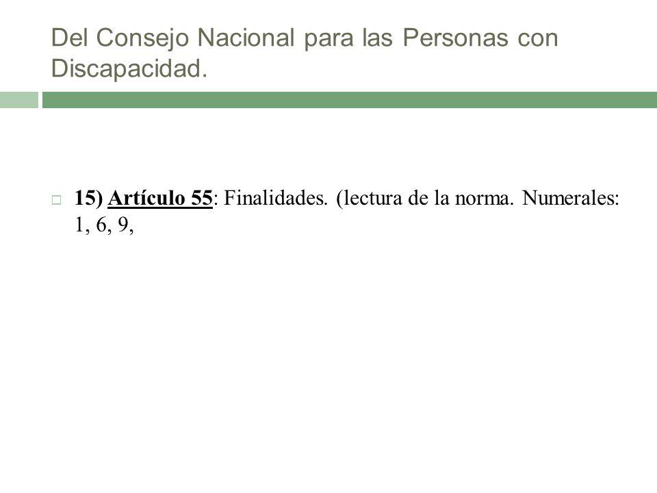 Del Consejo Nacional para las Personas con Discapacidad. 15) Artículo 55: Finalidades. (lectura de la norma. Numerales: 1, 6, 9,