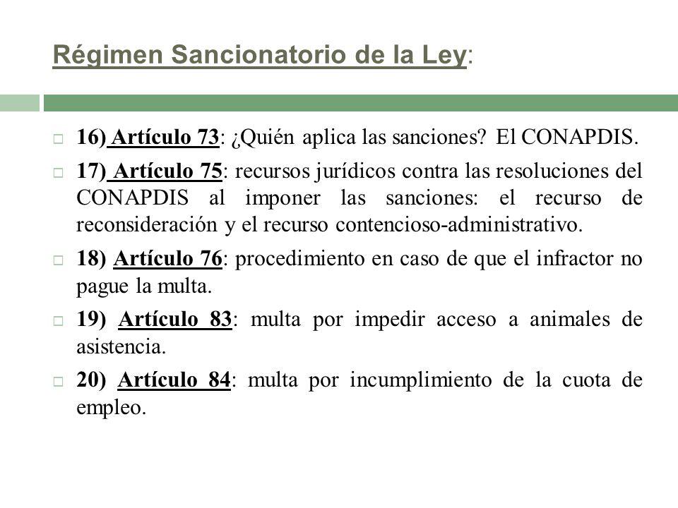 Régimen Sancionatorio de la Ley: 16) Artículo 73: ¿Quién aplica las sanciones? El CONAPDIS. 17) Artículo 75: recursos jurídicos contra las resolucione