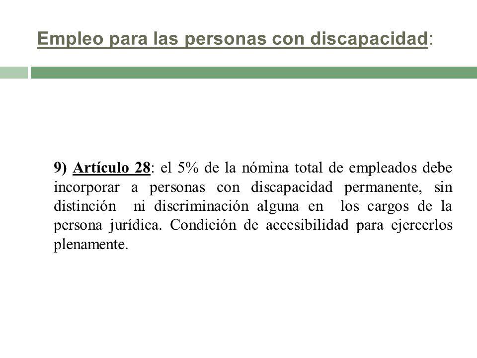Empleo para las personas con discapacidad: 9) Artículo 28: el 5% de la nómina total de empleados debe incorporar a personas con discapacidad permanent
