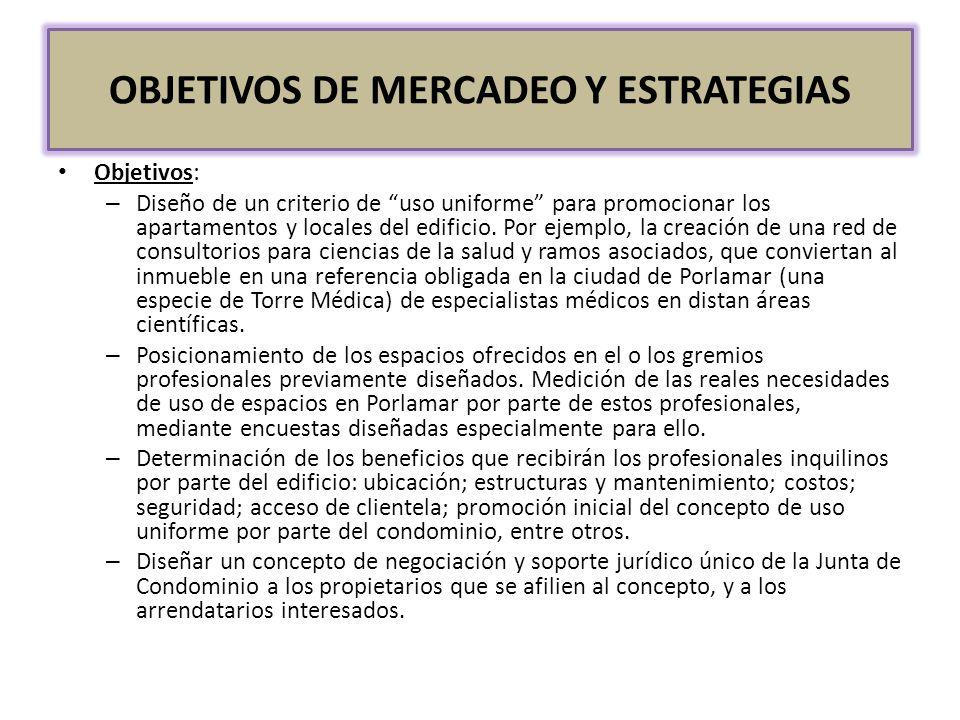 OBJETIVOS DE MERCADEO Y ESTRATEGIAS Objetivos: – Diseño de un criterio de uso uniforme para promocionar los apartamentos y locales del edificio. Por e