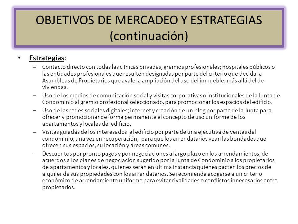 OBJETIVOS DE MERCADEO Y ESTRATEGIAS (continuación) Estrategias: – Contacto directo con todas las clínicas privadas; gremios profesionales; hospitales