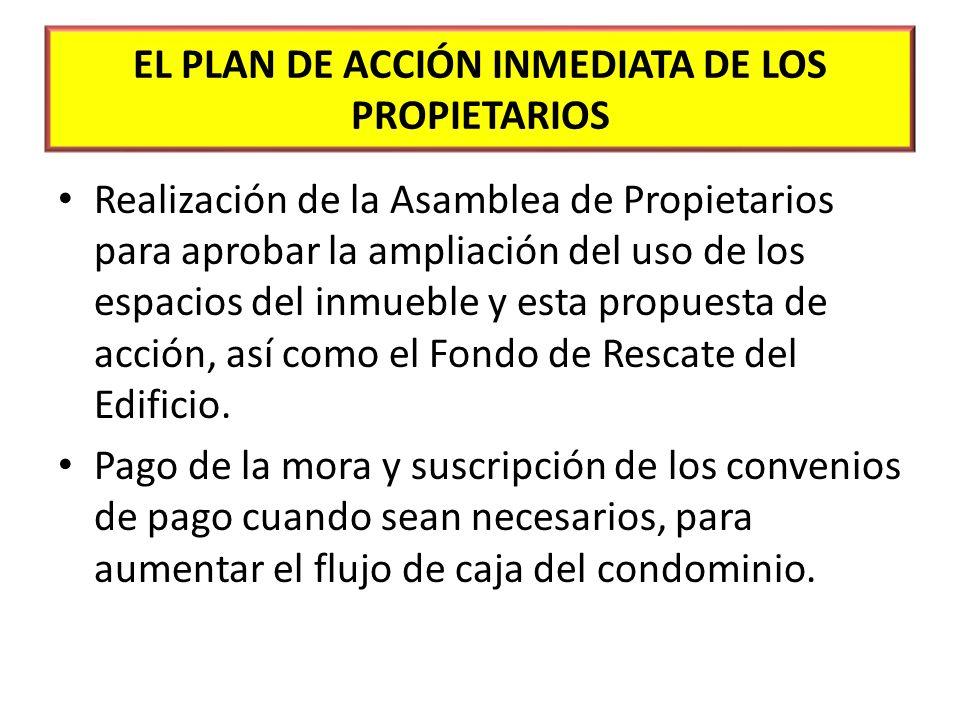 EL PLAN DE ACCIÓN INMEDIATA DE LOS PROPIETARIOS Realización de la Asamblea de Propietarios para aprobar la ampliación del uso de los espacios del inmu