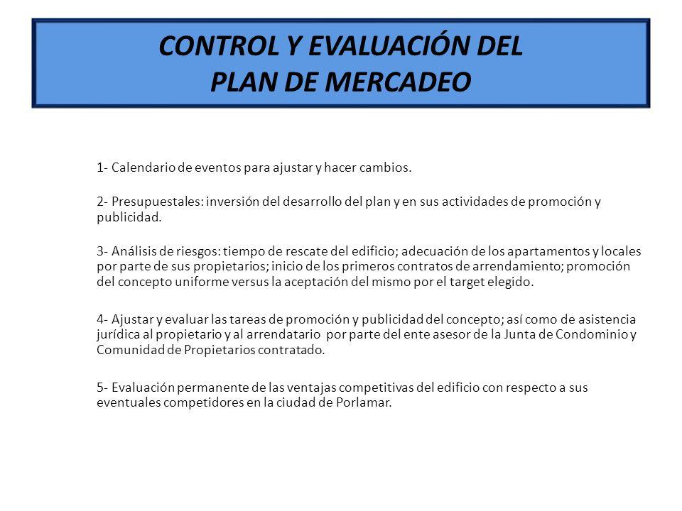 CONTROL Y EVALUACIÓN DEL PLAN DE MERCADEO 1- Calendario de eventos para ajustar y hacer cambios. 2- Presupuestales: inversión del desarrollo del plan