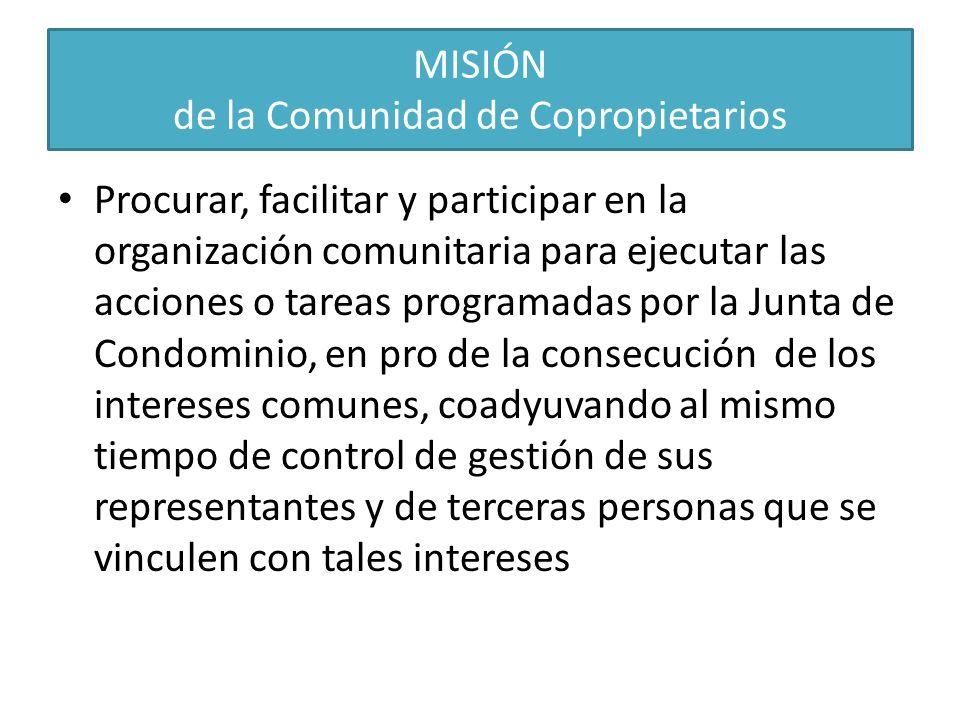 MISIÓN de la Comunidad de Copropietarios Procurar, facilitar y participar en la organización comunitaria para ejecutar las acciones o tareas programad