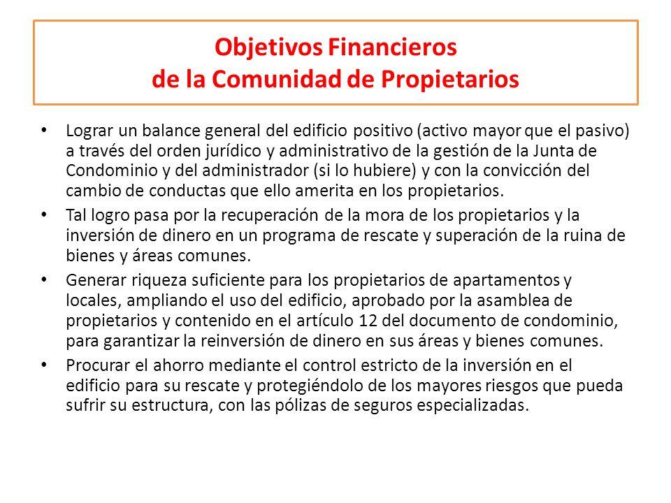 Objetivos Financieros de la Comunidad de Propietarios Lograr un balance general del edificio positivo (activo mayor que el pasivo) a través del orden