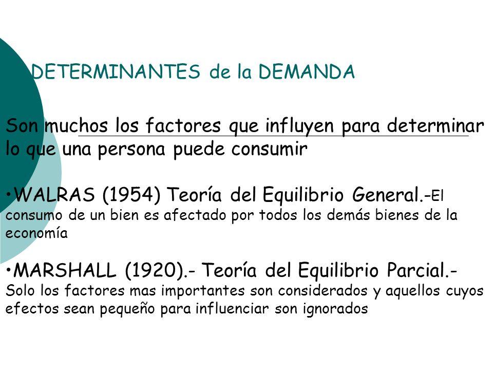 DETERMINANTES de la DEMANDA Son muchos los factores que influyen para determinar lo que una persona puede consumir WALRAS (1954) Teoría del Equilibrio