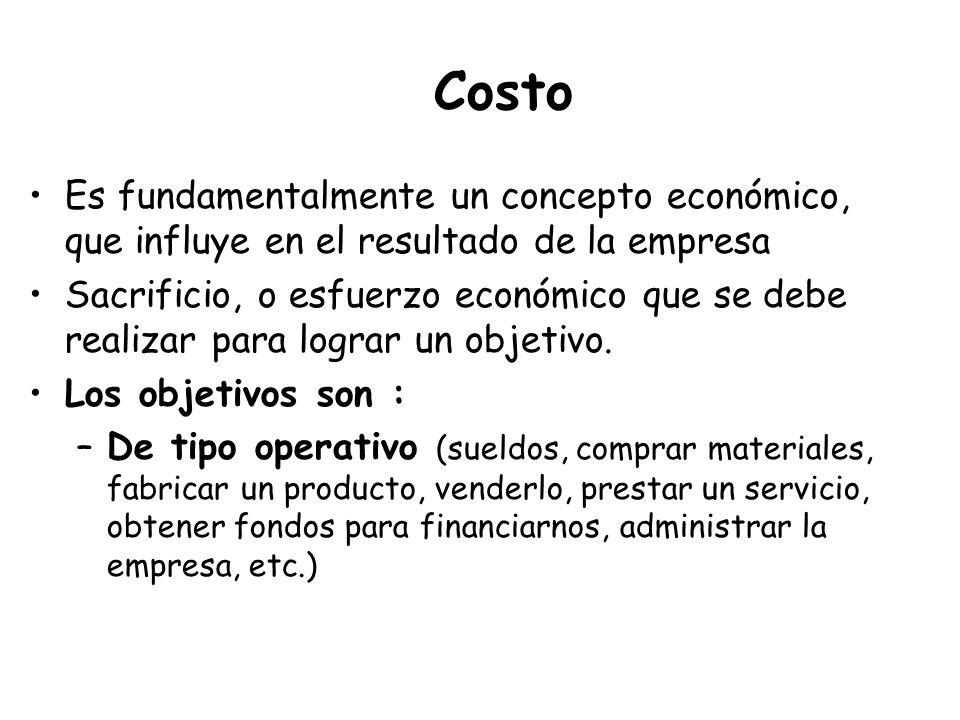 Costo Es fundamentalmente un concepto económico, que influye en el resultado de la empresa Sacrificio, o esfuerzo económico que se debe realizar para
