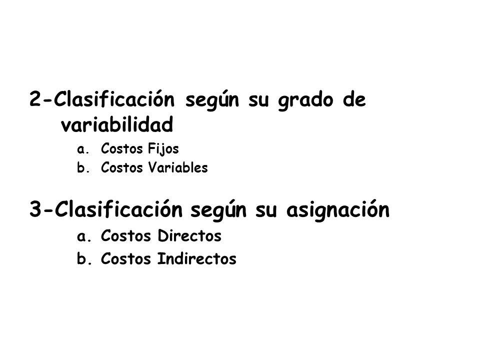 2-Clasificación según su grado de variabilidad a.Costos Fijos b.Costos Variables 3-Clasificación según su asignación a.Costos Directos b.Costos Indire