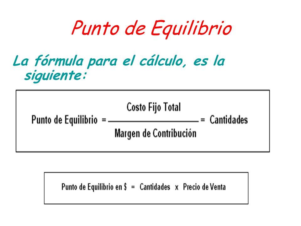 Punto de Equilibrio La fórmula para el cálculo, es la siguiente: La fórmula para el cálculo, es la siguiente: