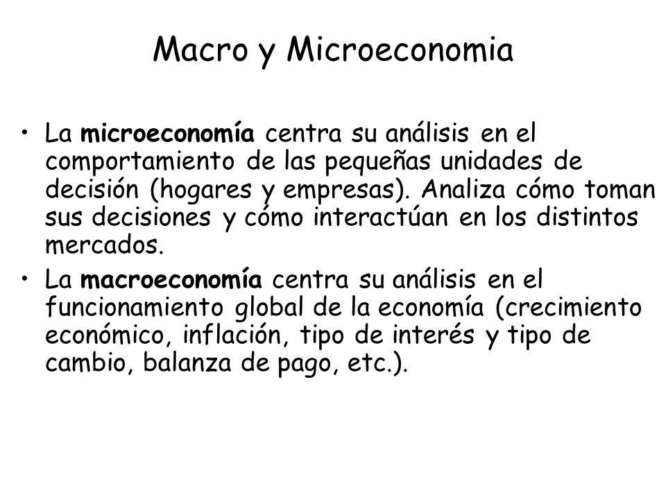 Macro y Microeconomia La microeconomía centra su análisis en el comportamiento de las pequeñas unidades de decisión (hogares y empresas). Analiza cómo
