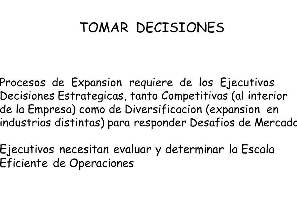 TOMAR DECISIONES Procesos de Expansion requiere de los Ejecutivos Decisiones Estrategicas, tanto Competitivas (al interior de la Empresa) como de Diversificacion (expansion en industrias distintas) para responder Desafios de Mercado Ejecutivos necesitan evaluar y determinar la Escala Eficiente de Operaciones