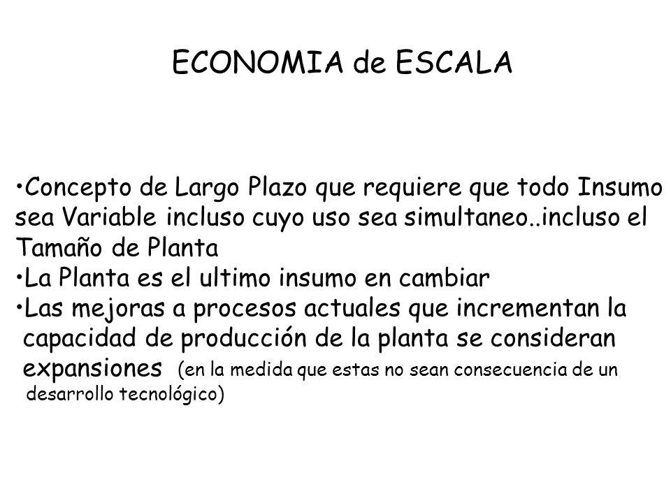 ECONOMIA de ESCALA Concepto de Largo Plazo que requiere que todo Insumo sea Variable incluso cuyo uso sea simultaneo..incluso el Tamaño de Planta La P