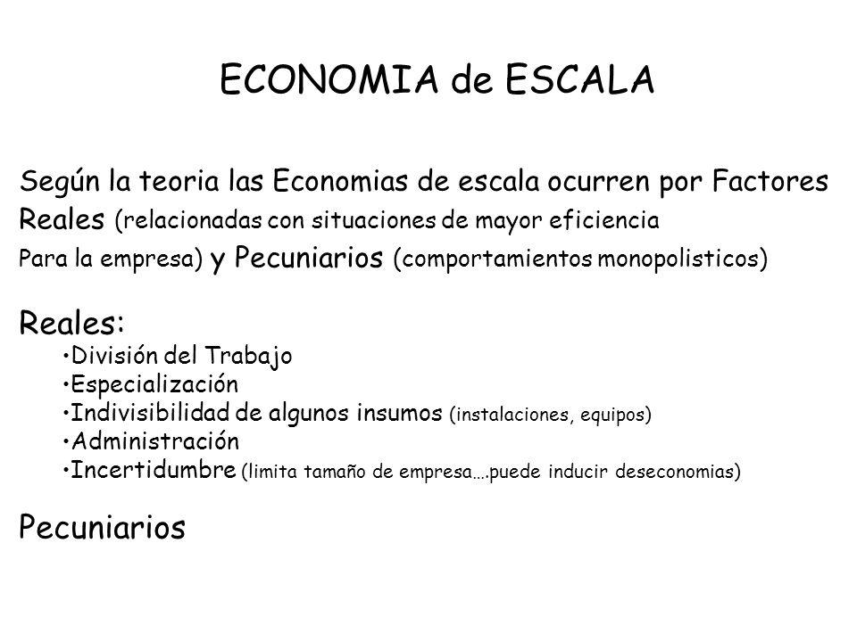 ECONOMIA de ESCALA Según la teoria las Economias de escala ocurren por Factores Reales (relacionadas con situaciones de mayor eficiencia Para la empre