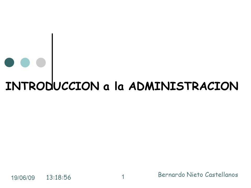 INTRODUCCION a la ADMINISTRACION 19/06/09 13:18:56 Bernardo Nieto Castellanos 1