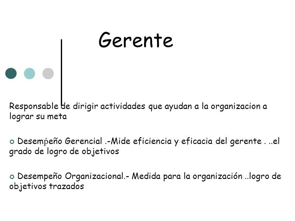 Gerente Responsable de dirigir actividades que ayudan a la organizacion a lograr su meta Desem eño Gerencial.-Mide eficiencia y eficacia del gerente..