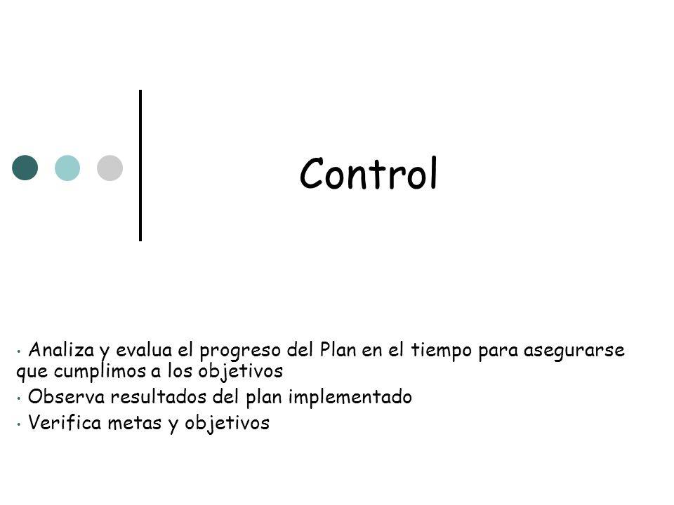 Control Analiza y evalua el progreso del Plan en el tiempo para asegurarse que cumplimos a los objetivos Observa resultados del plan implementado Veri