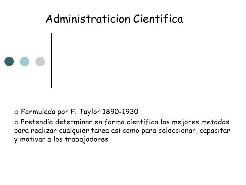 Administraticion Cientifica Formulada por F. Taylor 1890-1930 Pretendia determinar en forma cientifica los mejores metodos para realizar cualquier tar