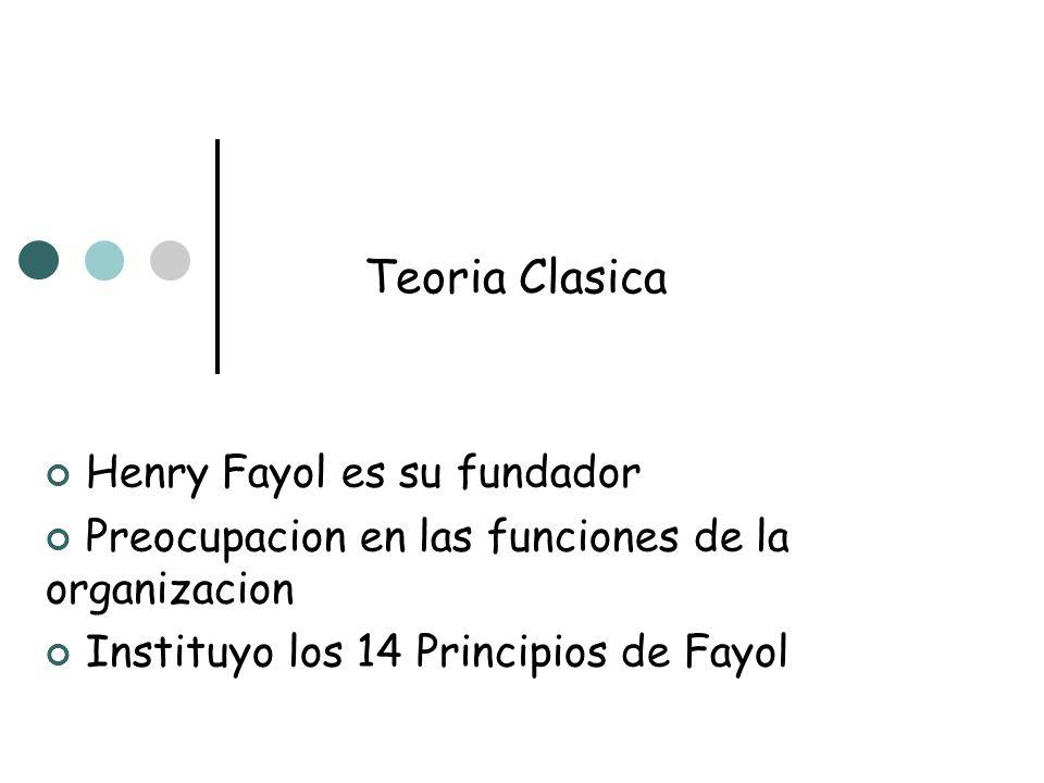 Teoria Clasica Henry Fayol es su fundador Preocupacion en las funciones de la organizacion Instituyo los 14 Principios de Fayol