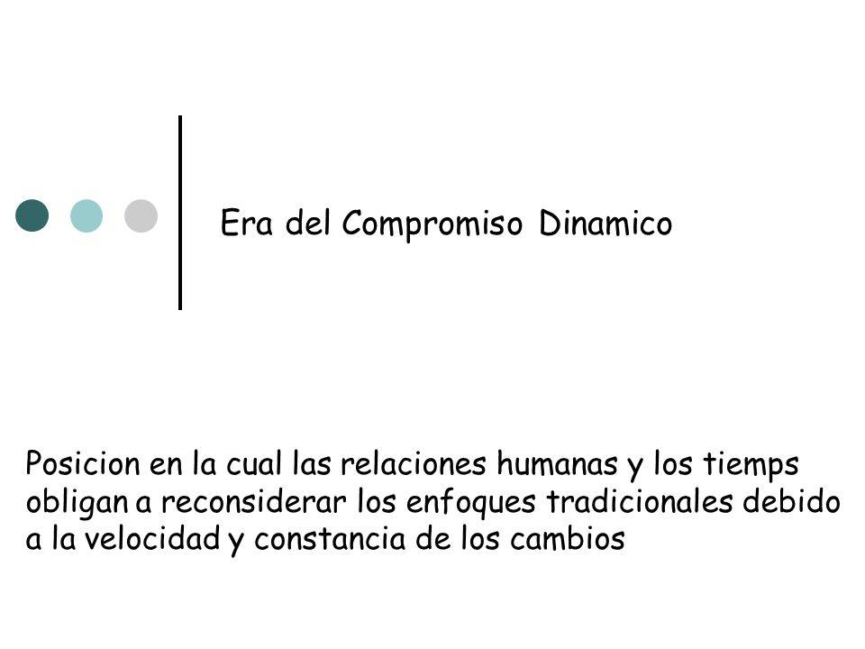 Era del Compromiso Dinamico Posicion en la cual las relaciones humanas y los tiemps obligan a reconsiderar los enfoques tradicionales debido a la velo