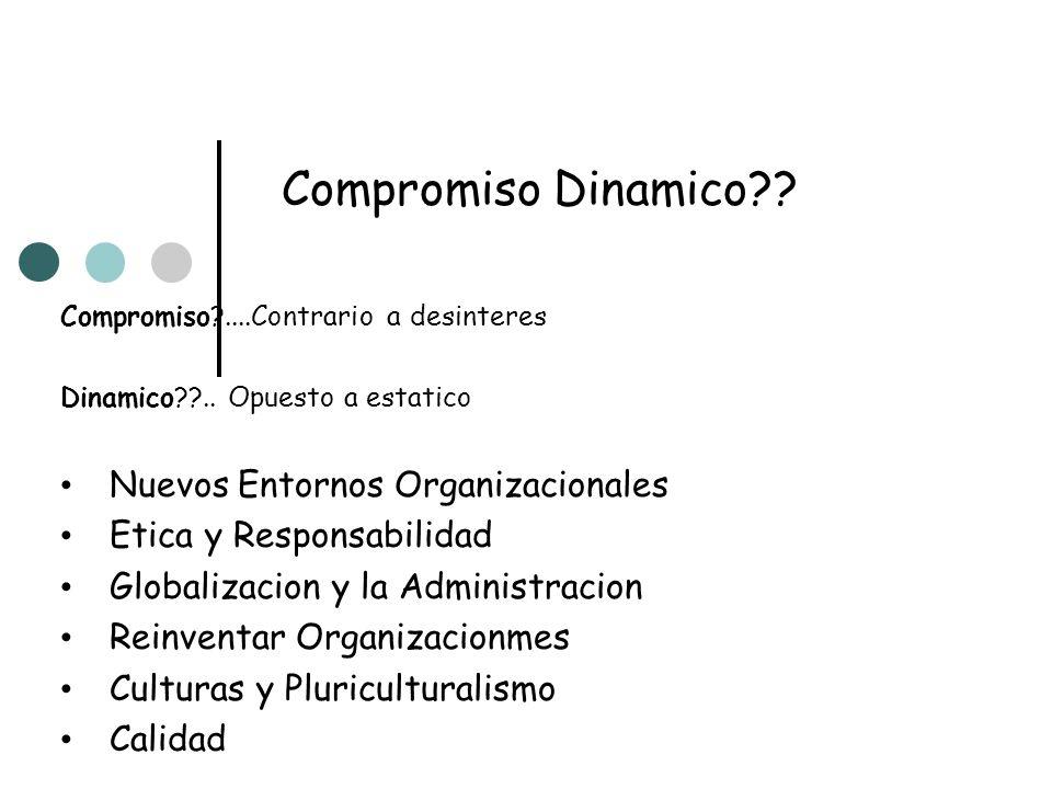 Compromiso Dinamico?? Compromiso?....Contrario a desinteres Dinamico??.. Opuesto a estatico Nuevos Entornos Organizacionales Etica y Responsabilidad G