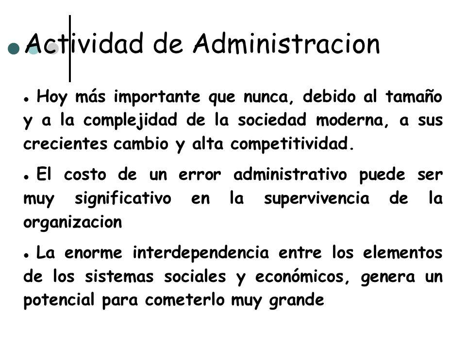 Actividad de Administracion Hoy más importante que nunca, debido al tamaño y a la complejidad de la sociedad moderna, a sus crecientes cambio y alta c