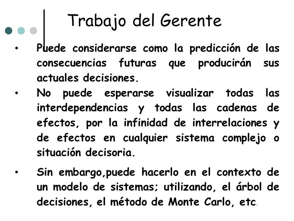 Trabajo del Gerente Puede considerarse como la predicción de las consecuencias futuras que producirán sus actuales decisiones. No puede esperarse visu