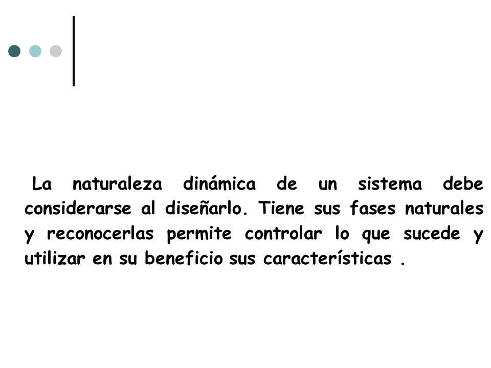 La naturaleza dinámica de un sistema debe considerarse al diseñarlo. Tiene sus fases naturales y reconocerlas permite controlar lo que sucede y utiliz