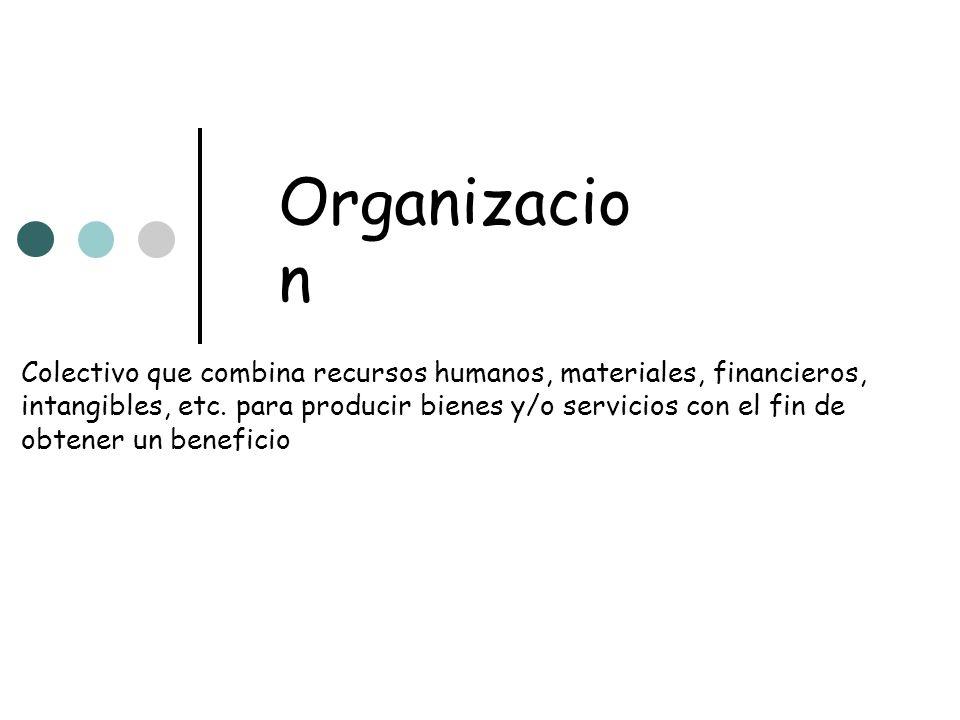 Organizacio n Colectivo que combina recursos humanos, materiales, financieros, intangibles, etc. para producir bienes y/o servicios con el fin de obte