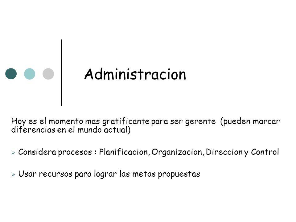 Administracion Hoy es el momento mas gratificante para ser gerente (pueden marcar diferencias en el mundo actual) Considera procesos : Planificacion,