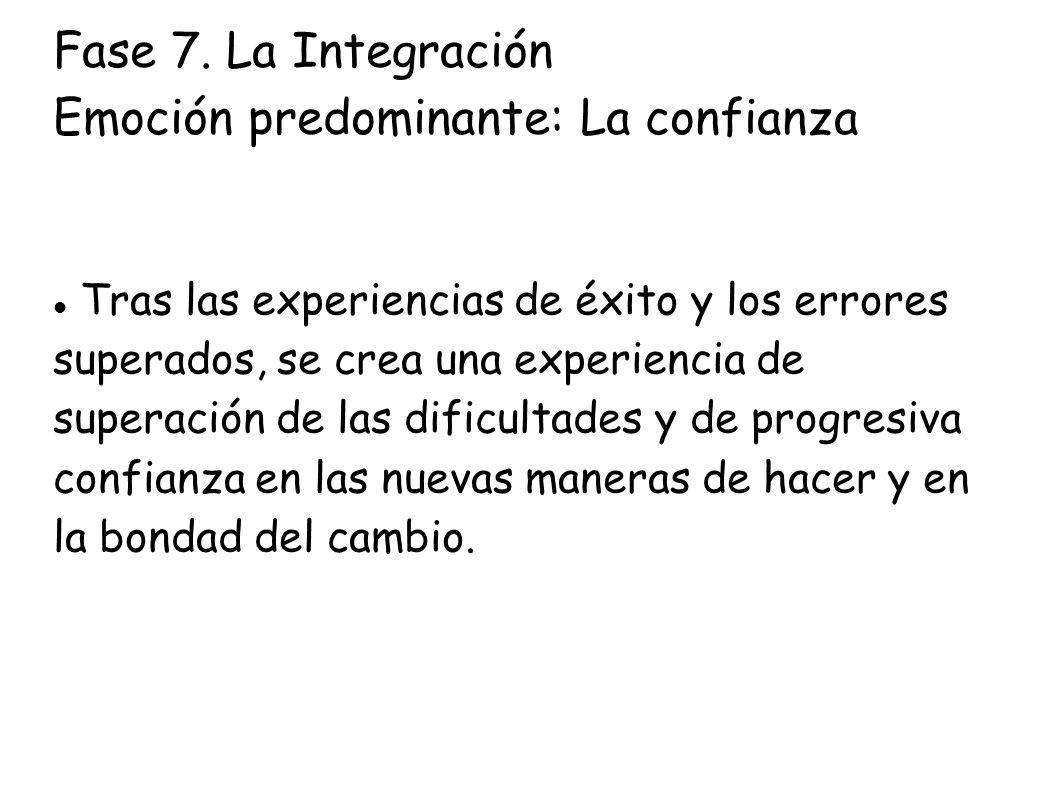 Fase 7. La Integración Emoción predominante: La confianza Tras las experiencias de éxito y los errores superados, se crea una experiencia de superació