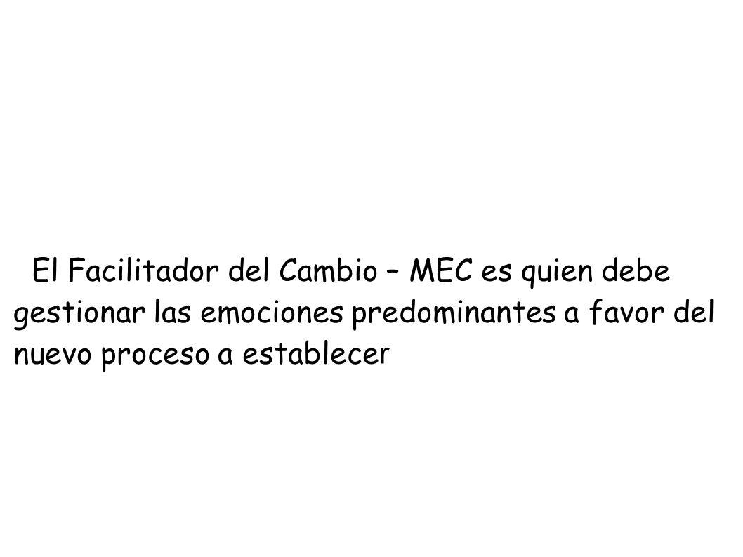 El Facilitador del Cambio – MEC es quien debe gestionar las emociones predominantes a favor del nuevo proceso a establece r