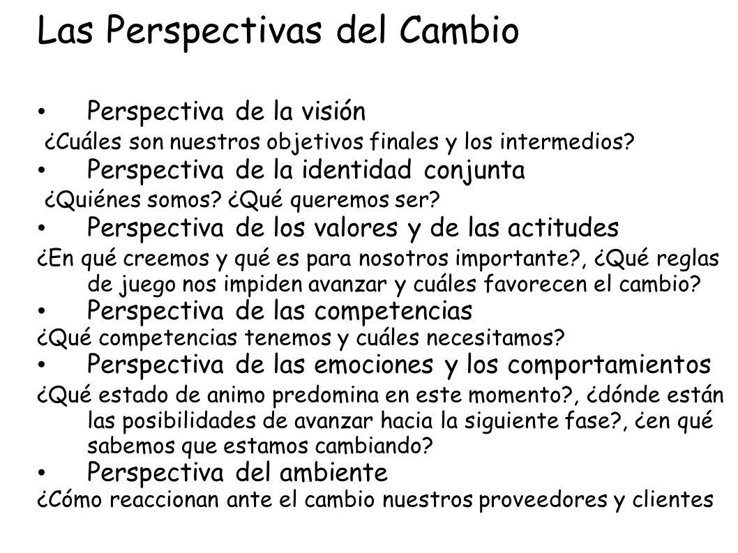 Las Perspectivas del Cambio Perspectiva de la visión ¿Cuáles son nuestros objetivos finales y los intermedios? Perspectiva de la identidad conjunta ¿Q