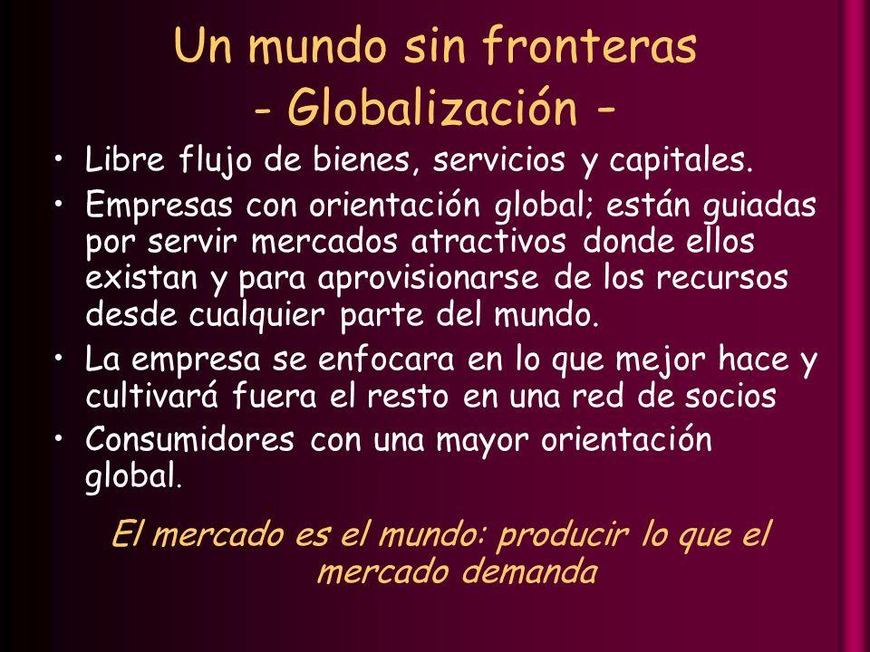Un mundo sin fronteras - Globalización - Libre flujo de bienes, servicios y capitales.