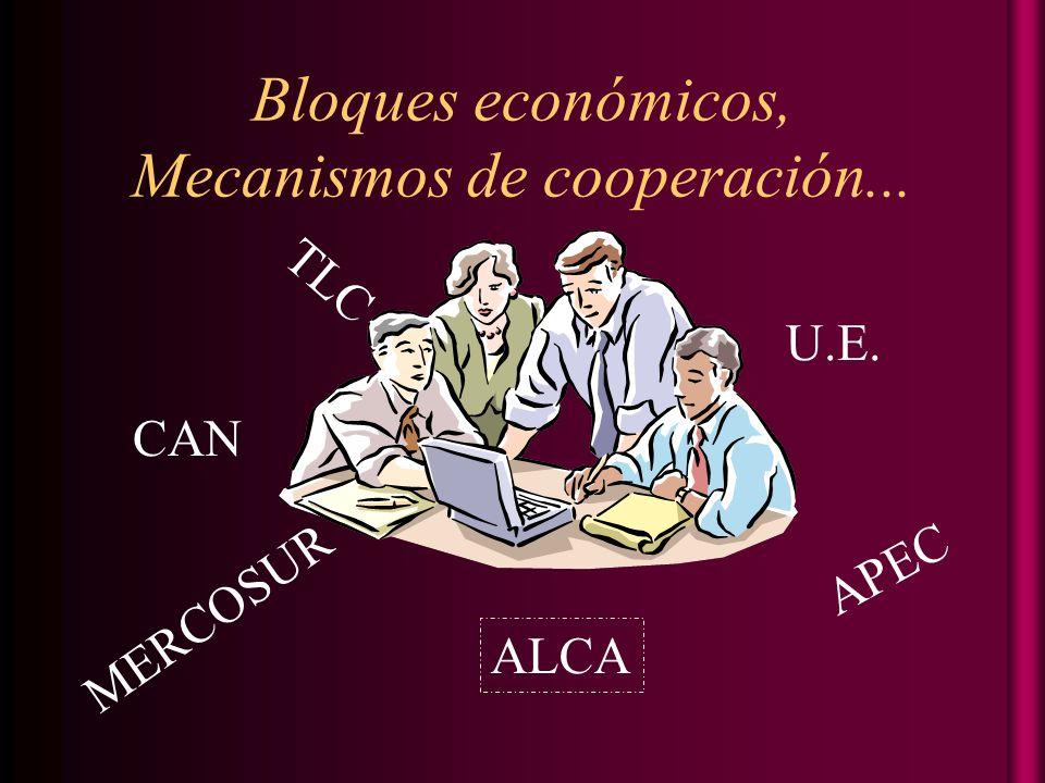 Bloques económicos, Mecanismos de cooperación... CAN TLC MERCOSUR U.E. ALCA APEC