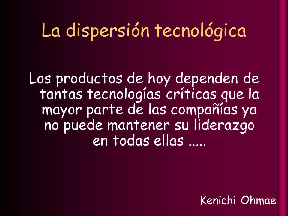 La dispersión tecnológica Los productos de hoy dependen de tantas tecnologías críticas que la mayor parte de las compañías ya no puede mantener su liderazgo en todas ellas.....