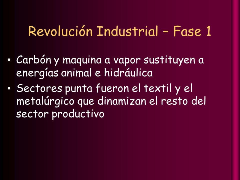 Revolución Industrial – Fase 1 Carbón y maquina a vapor sustituyen a energías animal e hidráulica Sectores punta fueron el textil y el metalúrgico que dinamizan el resto del sector productivo