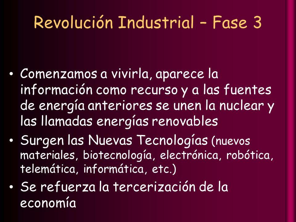 Revolución Industrial – Fase 3 Comenzamos a vivirla, aparece la información como recurso y a las fuentes de energía anteriores se unen la nuclear y las llamadas energías renovables Surgen las Nuevas Tecnologías (nuevos materiales, biotecnología, electrónica, robótica, telemática, informática, etc.) Se refuerza la tercerización de la economía
