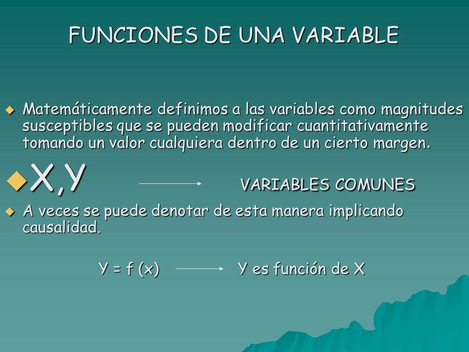 FUNCIONES DE UNA VARIABLE Matemáticamente definimos a las variables como magnitudes susceptibles que se pueden modificar cuantitativamente tomando un