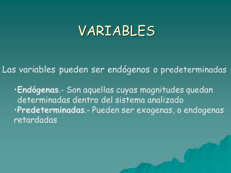 VARIABLES Las variables pueden ser endógenos o predeterminadas Endógenas.- Son aquellas cuyas magnitudes quedan determinadas dentro del sistema analizado Predeterminadas.- Pueden ser exogenas, o endogenas retardadas