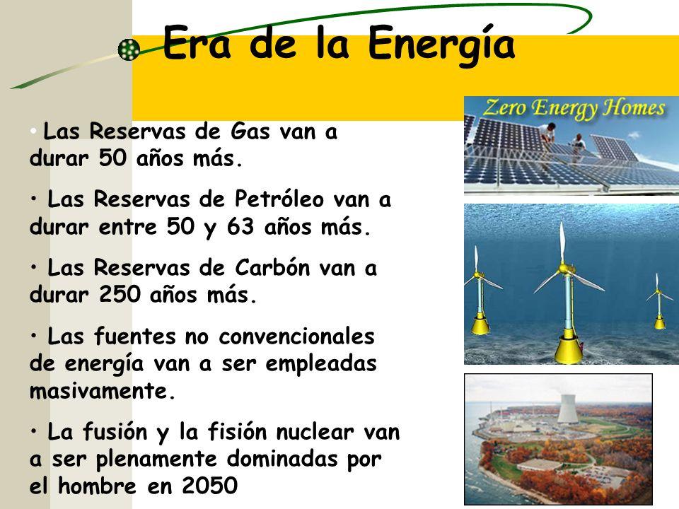 Era de la Energía Las Reservas de Gas van a durar 50 años más.