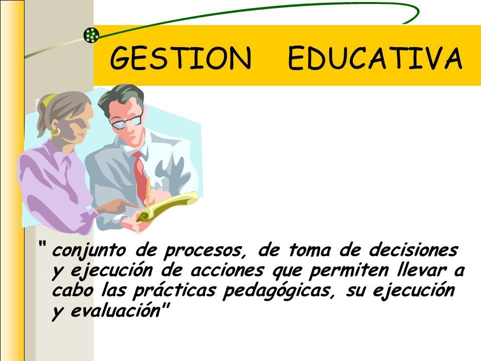 conjunto de procesos, de toma de decisiones y ejecución de acciones que permiten llevar a cabo las prácticas pedagógicas, su ejecución y evaluación GESTION EDUCATIVA