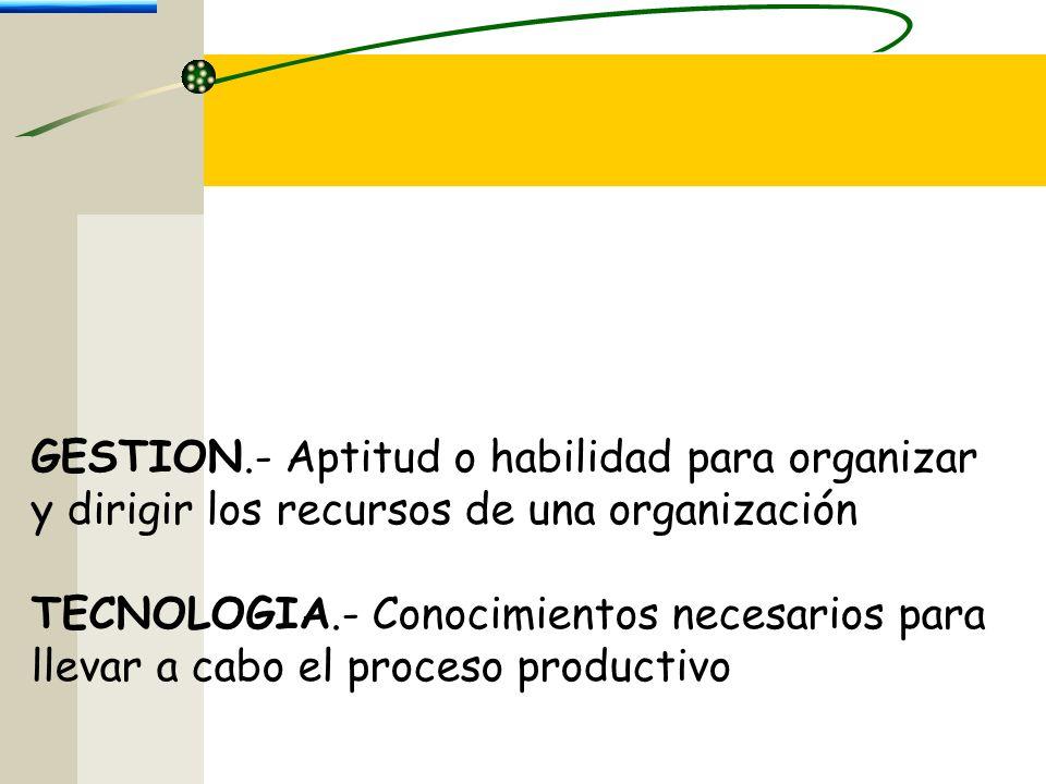 Bernardo Nieto Castellanos GESTION.- Aptitud o habilidad para organizar y dirigir los recursos de una organización TECNOLOGIA.- Conocimientos necesarios para llevar a cabo el proceso productivo