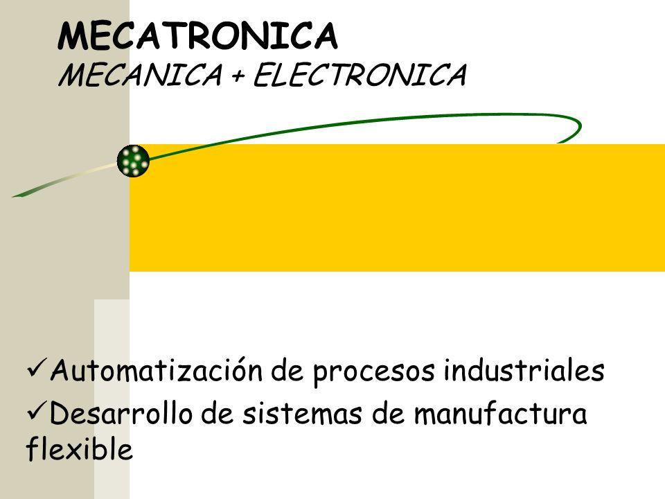 MECATRONICA MECANICA + ELECTRONICA Automatización de procesos industriales Desarrollo de sistemas de manufactura flexible