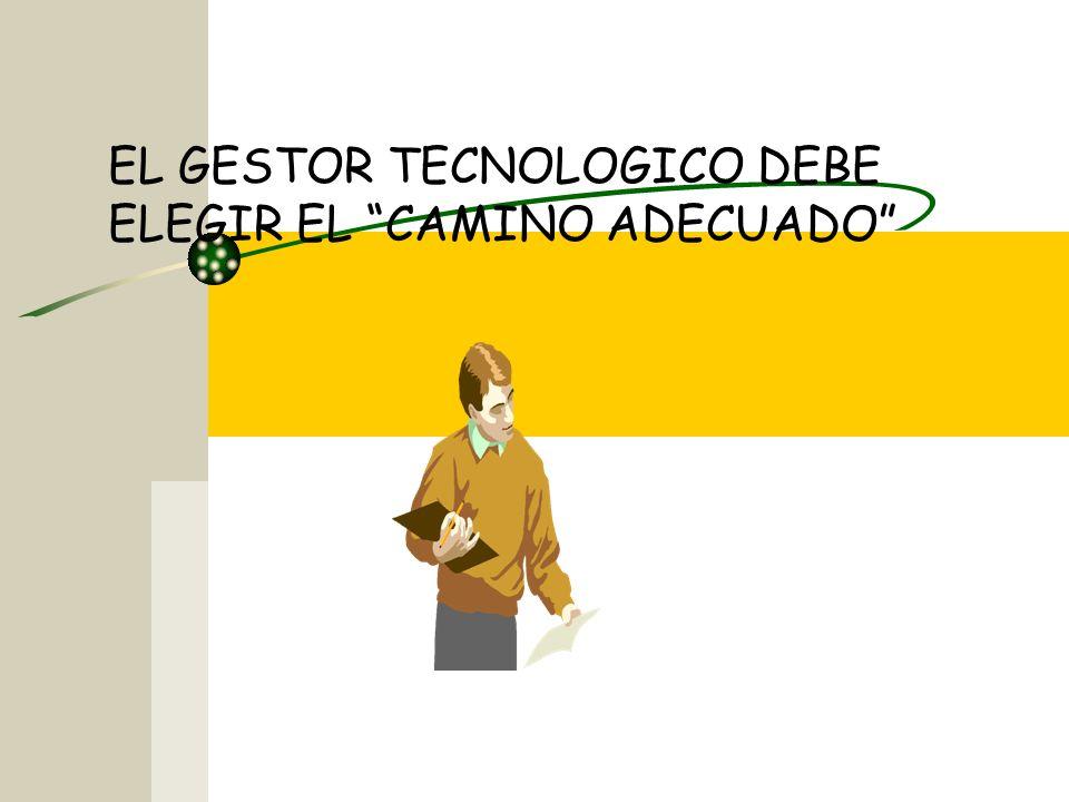 EL GESTOR TECNOLOGICO DEBE ELEGIR EL CAMINO ADECUADO