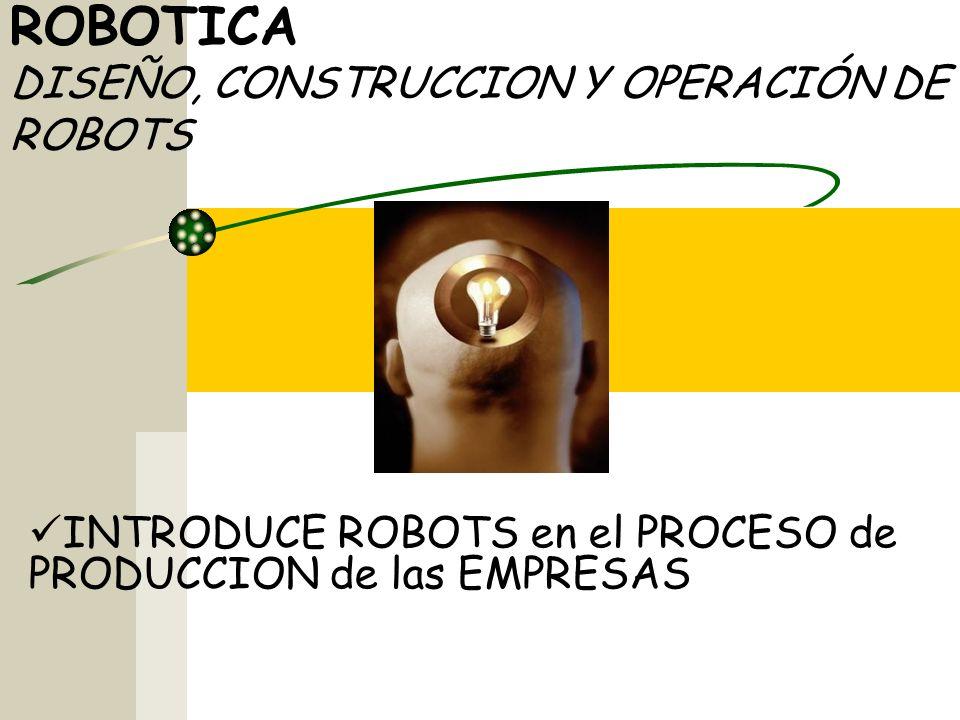 ROBOTICA DISEÑO, CONSTRUCCION Y OPERACIÓN DE ROBOTS INTRODUCE ROBOTS en el PROCESO de PRODUCCION de las EMPRESAS