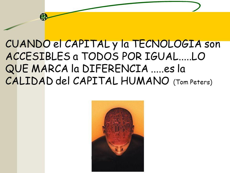 CUANDO el CAPITAL y la TECNOLOGIA son ACCESIBLES a TODOS POR IGUAL.....LO QUE MARCA la DIFERENCIA.....es la CALIDAD del CAPITAL HUMANO (Tom Peters)