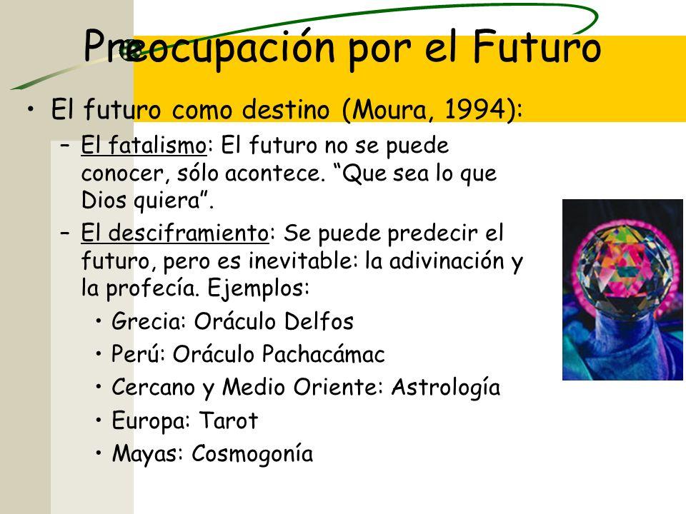 Preocupación por el Futuro El futuro como destino (Moura, 1994): –El fatalismo: El futuro no se puede conocer, sólo acontece.