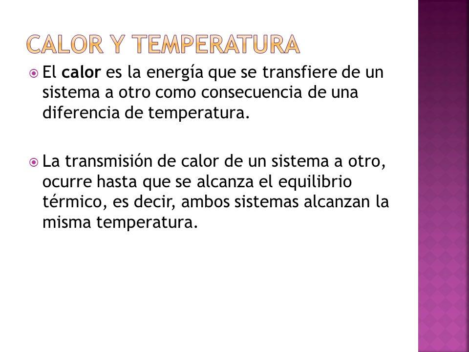 El calor es la energía que se transfiere de un sistema a otro como consecuencia de una diferencia de temperatura. La transmisión de calor de un sistem